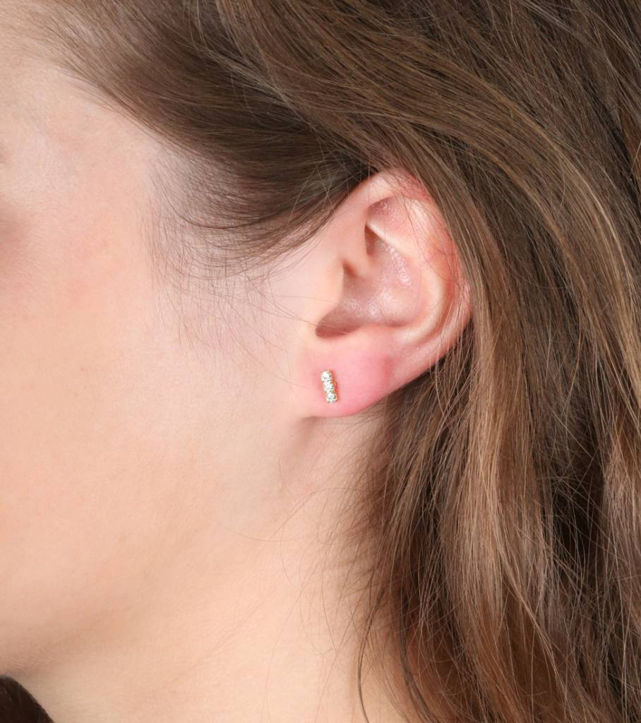 TRIPLE SPARKLE GOLD EARRINGS