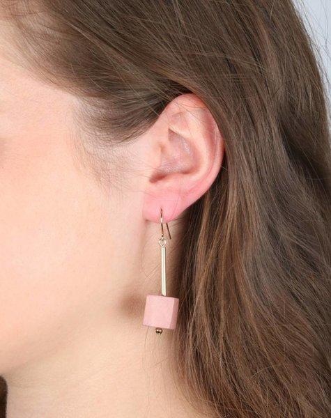 WOODEN CUBE EARRINGS
