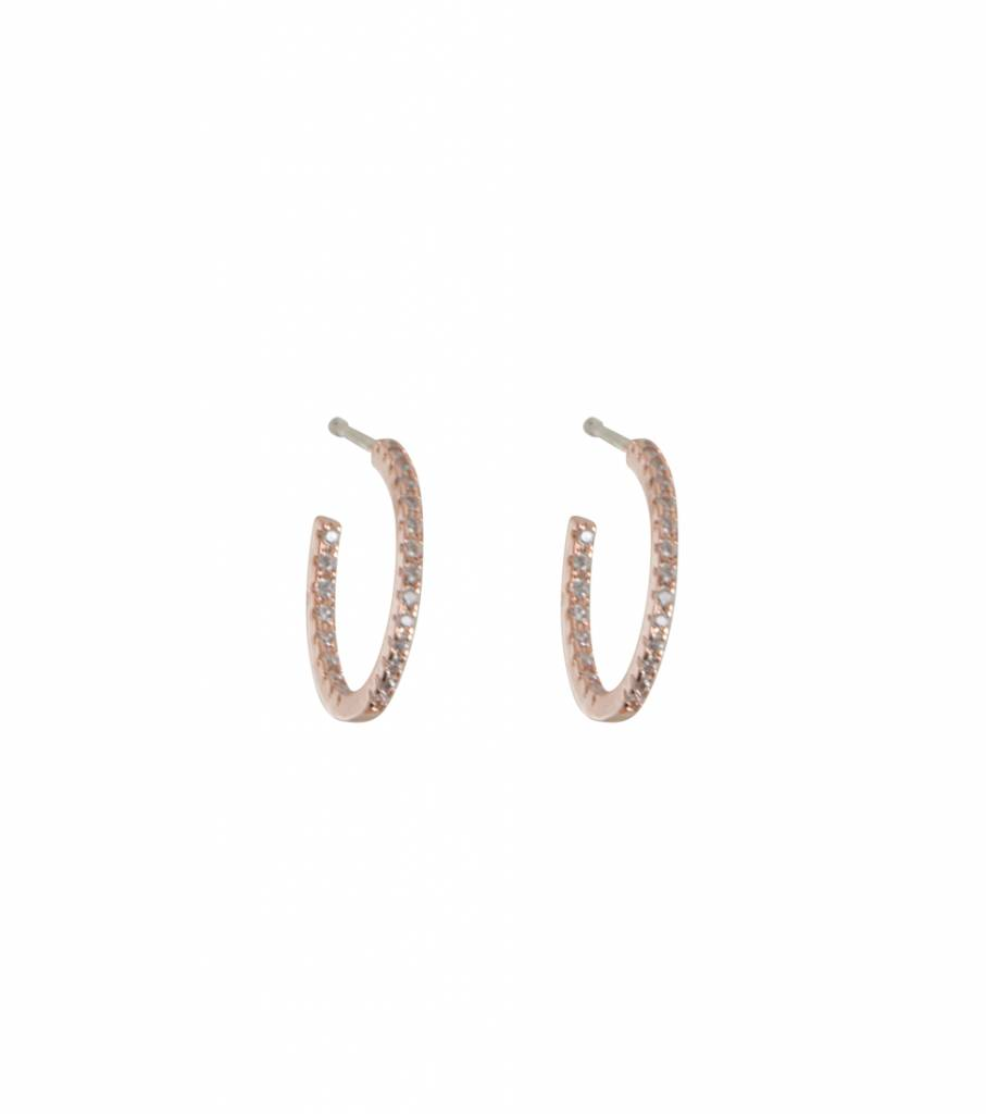 SPARKLING HOOP EARRINGS ROSE GOLD