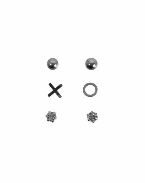 SET OF THREE XO EARRINGS SILVER