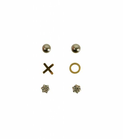 SET OF THREE XO EARRINGS GOLD