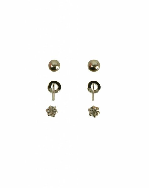 SET OF THREE ROUNDS EARRING SET GOLD