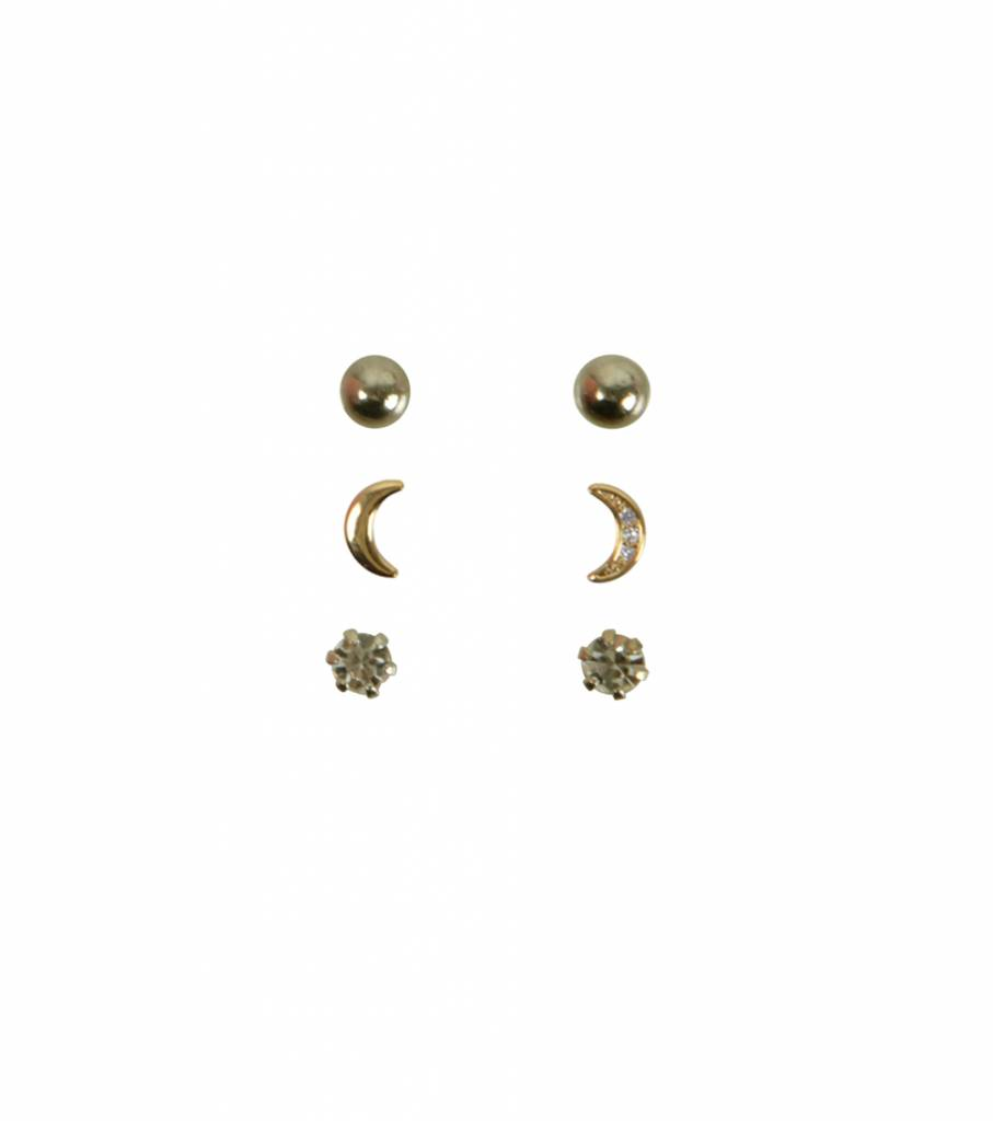 SET OF THREE MOONLIGHT EARRINGS GOLD
