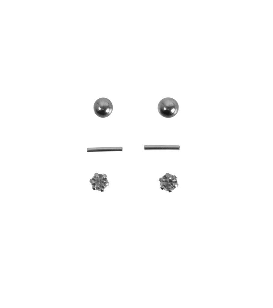 SET OF THREE CASUAL EARRINGS SILVER