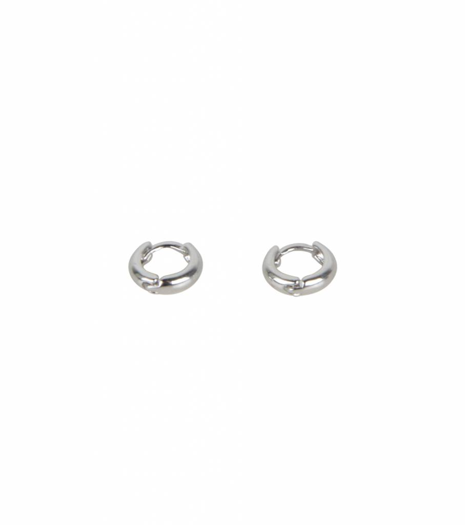 MINI BOLD ROUND EARRING SILVER