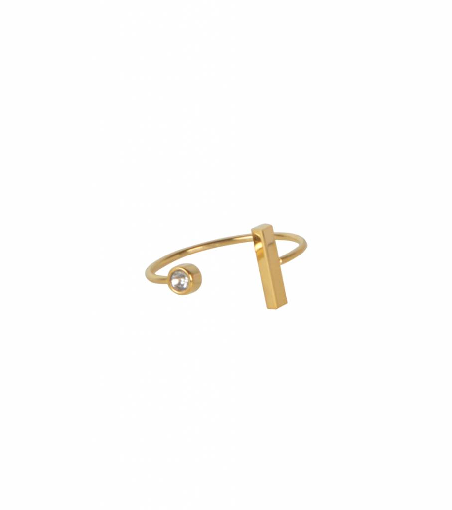 DOUBLE BAR STONE RING GOLD