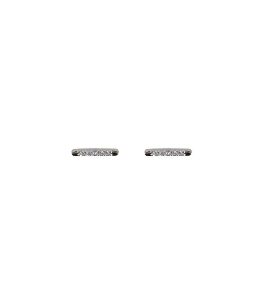 DIAMOND BAR EARRING SILVER