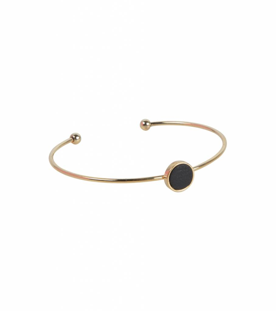 BLACK LEATHER DETAIL BANGLE