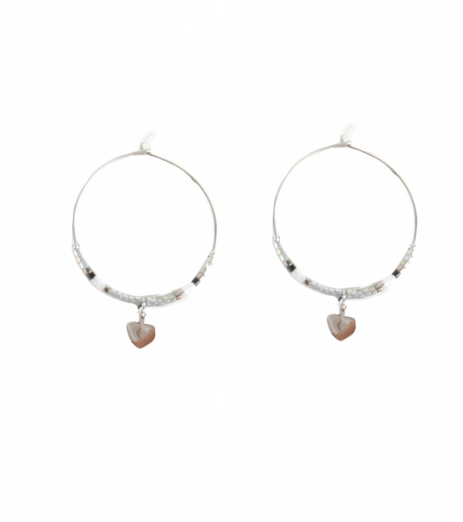 STARRY HOOP EARRING GREY