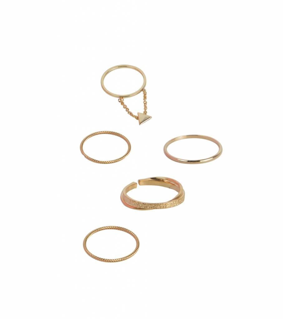 GOLDEN SET OF 5 RINGS