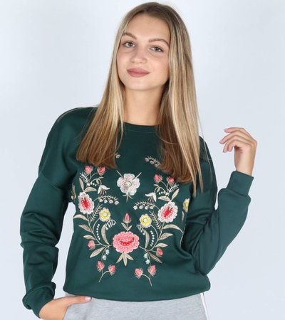GREEN EMBROIDERED FLOWERS SWEATER