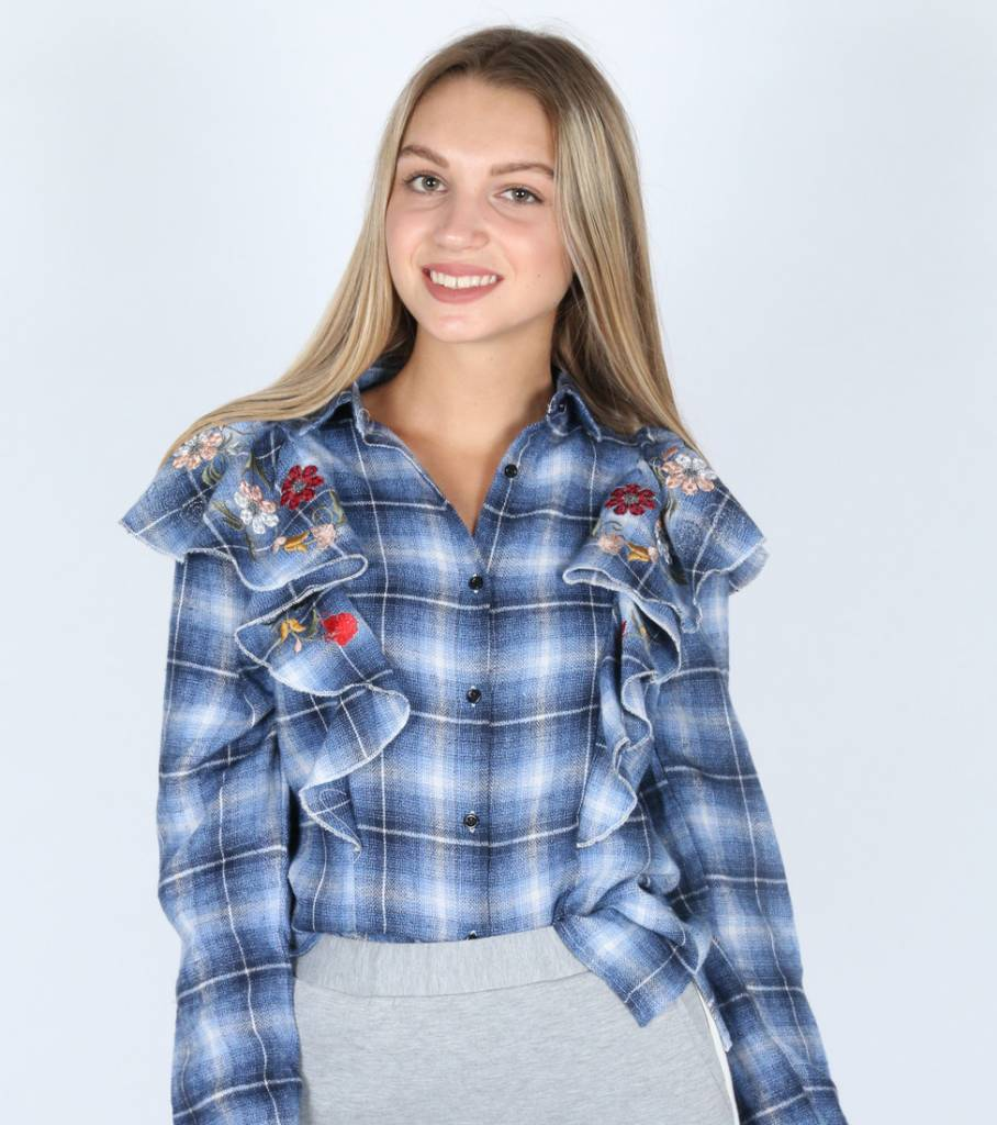 FLY RUFFLE CHECKED BLUE SHIRT