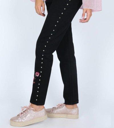 HIGH RISE BLACK STUDDED PANTS