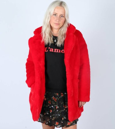 BE MY TEDDY COAT RED