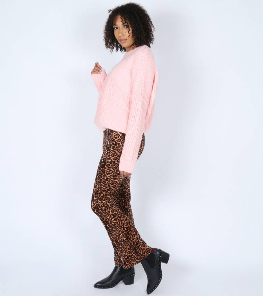 WIDE VELVET LEOPARD PANTS
