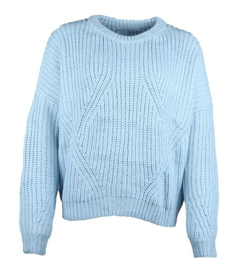 BLUE KNITTED CABLE SWEATER