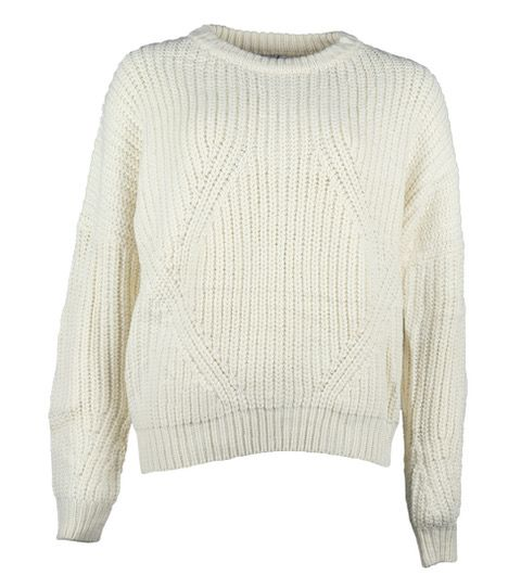 WHITE KNITTED CABLE SWEATER