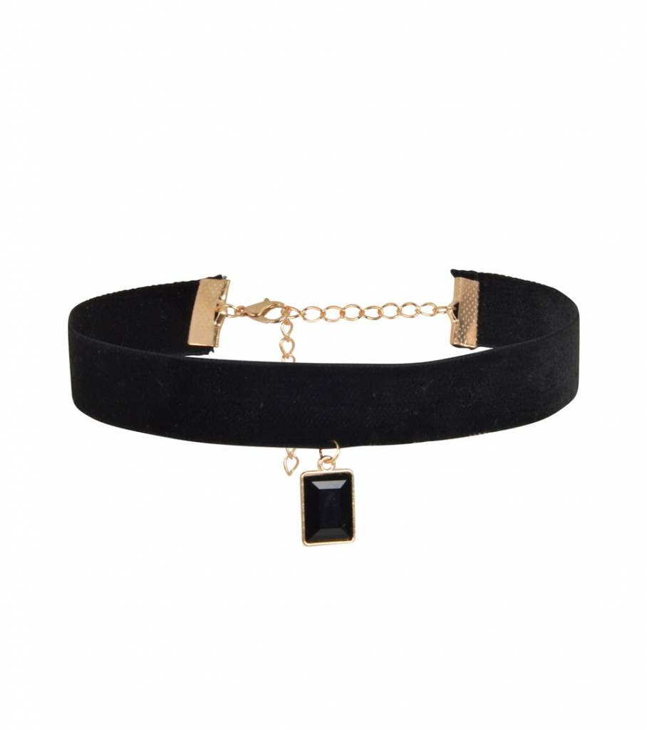 BLACK AND GOLD CHARM CHOKER
