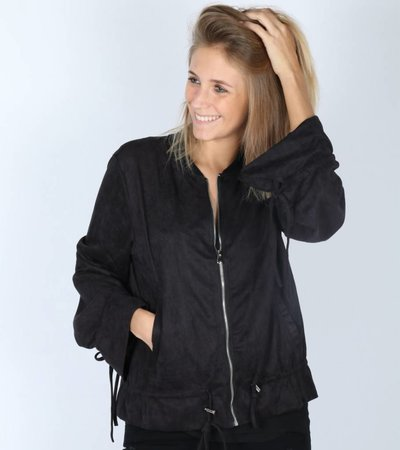SUEDE BLACK BOMBERJACKET
