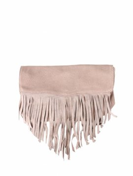FRINNY FRINGE CLUTCH TAUPE