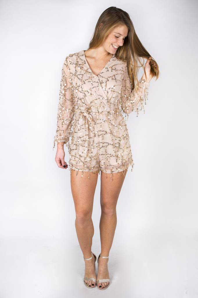 ALL THAT SHINE AND GLITTER PLAYSUIT BEIGE