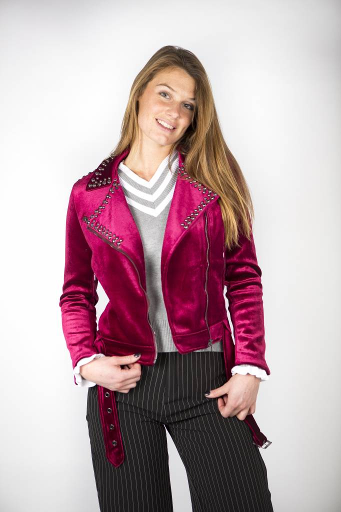 ROCK YOUR BORDEAUX VELVET BIKERJACKET