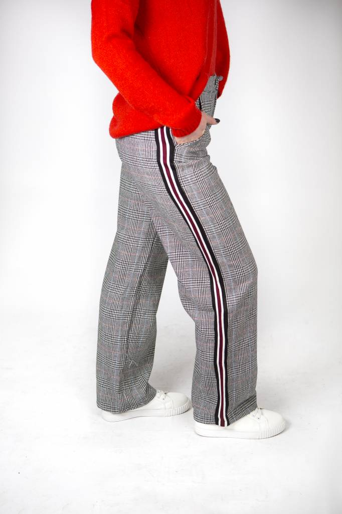 GINGHAM WIDE LEGS TROUSERS