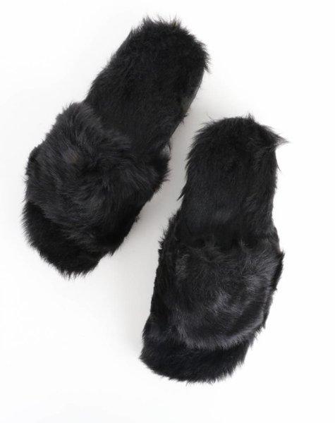 FAUX FUR ADDICT SLIPPER BLACK