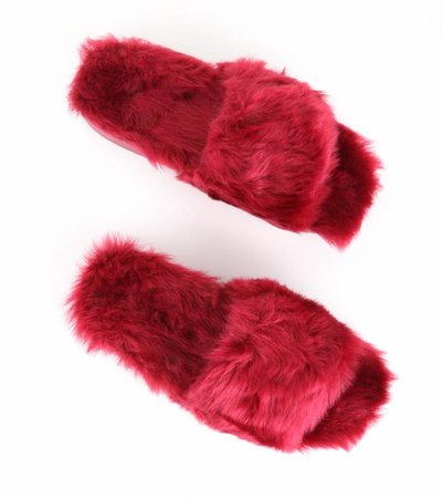 FAUX FUR ADDICT BURGUNDY