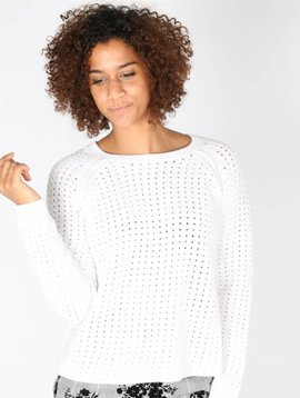 LEAVE A LIGHT SPARKLE WHITE SWEATER