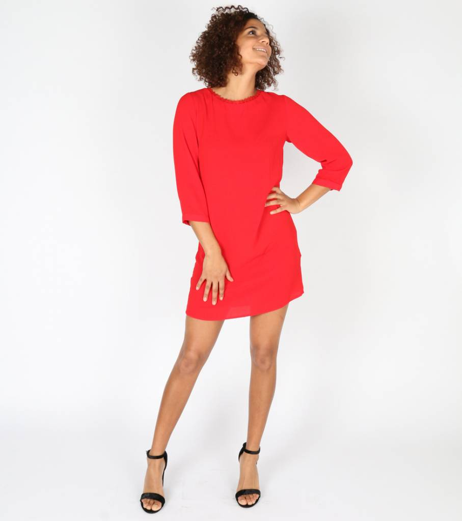 RED LACE VNECK DRESS