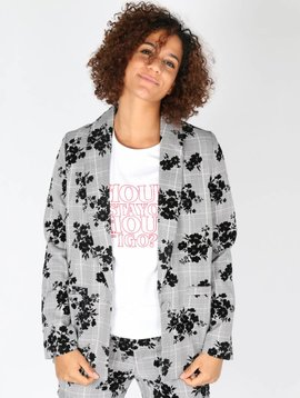 CHECKED ROSES BLOOM BLAZER