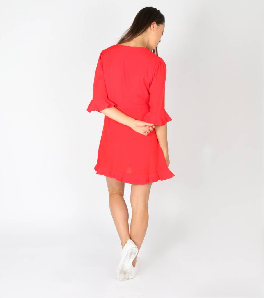 RED LADY WALKING PLAYSUIT