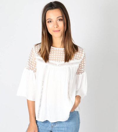 OKAY YOU'RE CUTE WHITE LACE BLOUSE