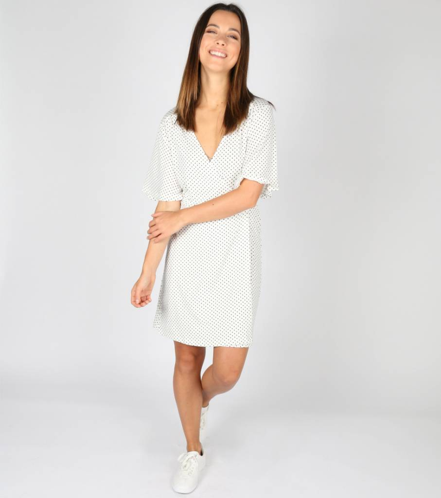 POLKY DOT WHITE DRESS