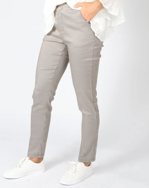 CHECKED IN STYLE PANTS TAUPE