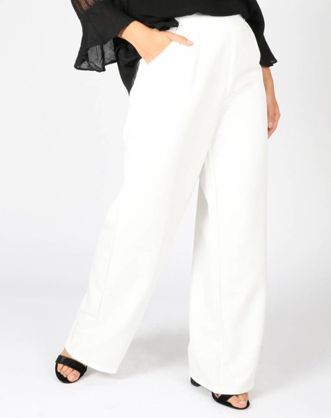 HIGH WAIST FLARED STATEMENT PANTS OFF WHITE