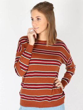 COGNAC STRIPED SWEATER