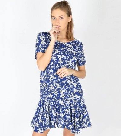 SKYBLUE WHITE FLORAL DRESS