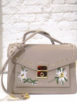 STUDS AND LEAVES GREY BAG