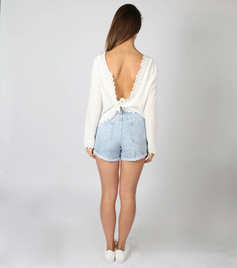 TALK TO MY BACK WHITE BLOUSE