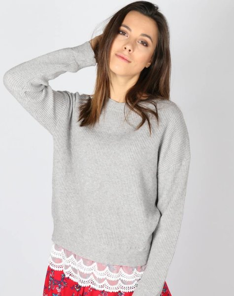 MISSES GREY RIBBED KNIT