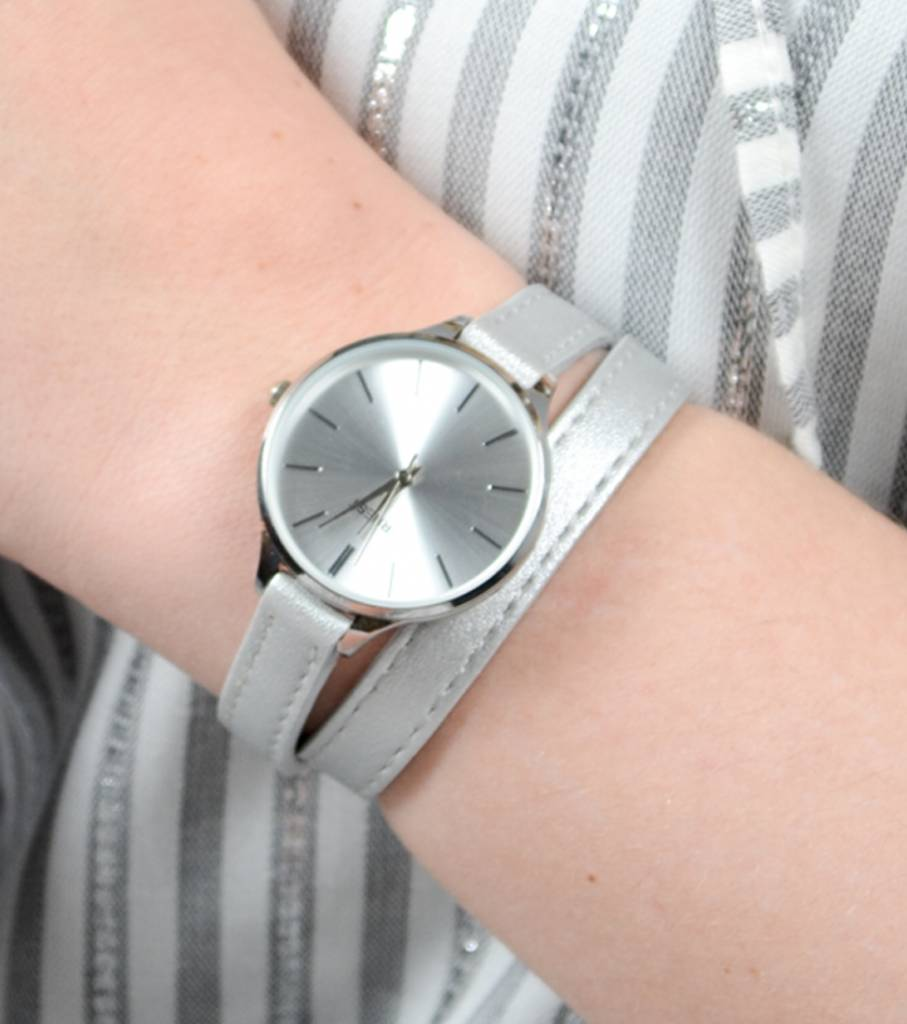 DOUBLE STRAP WATCH SILVER
