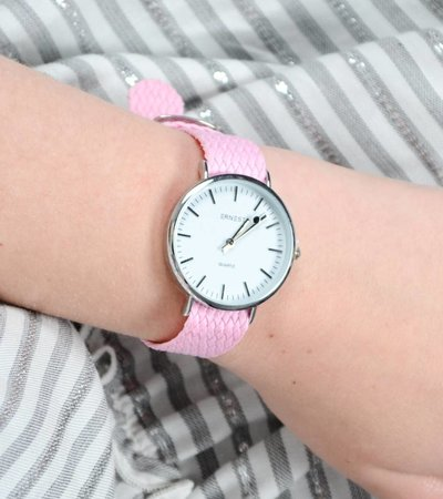 BRAIDED OLDSKOOL WATCH PINK