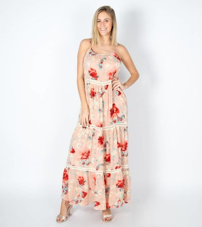 PROMISE ME PINK FLOWERS MAXIDRESS