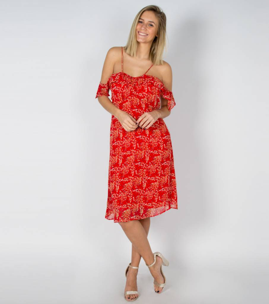 RED FLAMENCO MIDI DRESS