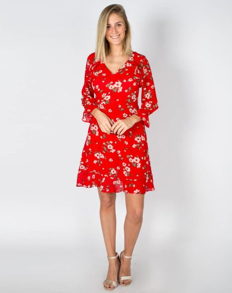 TWIGS AND FLORALS RED DRESS
