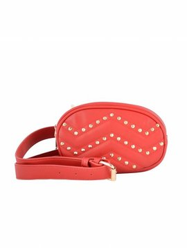 RED STUDDED FANNY BAG