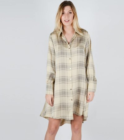 BUBU CHECKED SHIRTDRESS