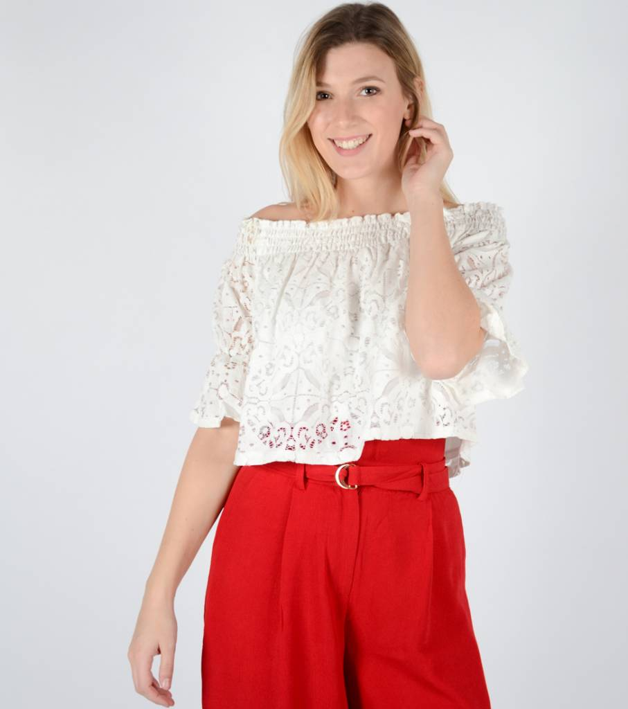 CROP IT UP WHITE LACE TOP